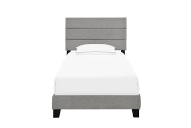 Twin Horizontal Channel Upholstered Bed-Glacier