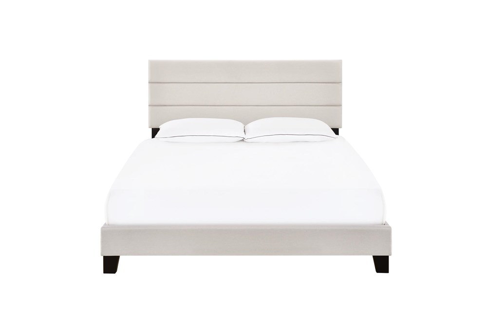 Queen Horizontal Channel Upholstered Bed-Fog