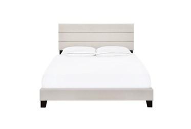 Eastern King Horizontal Channel Upholstered Bed-Fog