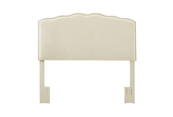 King/Cal King Serpentine Curved Upholstered Headboard-Linen