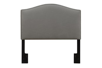 Full/Queen Nail Trim Camelback Upholstered Headboard-Ash