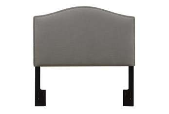 Full/Queen Nail Trim Camelback Upholstered Headboard-Ash