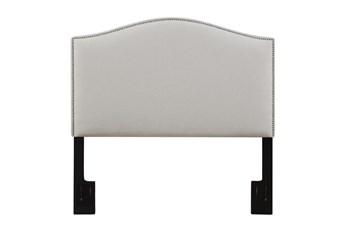 Full/Queen Nail Trim Camelback Upholstered Headboard-Linen