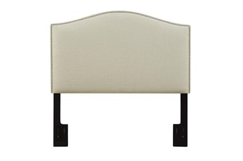 Full/Queen Nail Trim Upholstered Headboard-Beige