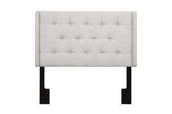 Full/Queen Nail Trim Camelback Upholstered Headboard-Linen