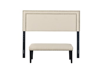 Queen Double Nail Trim Headboard With Bench-Linen