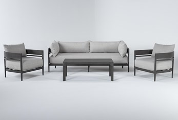Provence Outdoor 4 Piece Lounge Set With Coffee Table