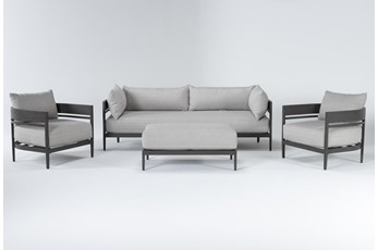 Provence Outdoor 4 Piece Lounge Set With Cocktail Ottoman