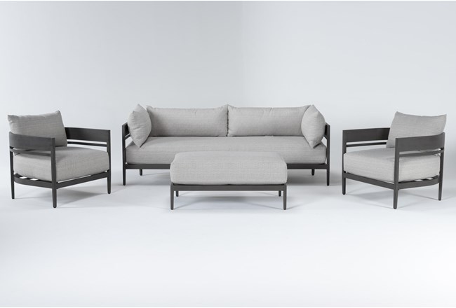 Provence Outdoor 4 Piece Lounge Set With Cocktail Ottoman - 360