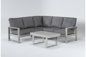 "Zane 82"" Outdoor Sectional And Coffee Table"