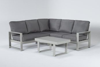 """Zane 82"""" Outdoor Sectional And Coffee Table"""