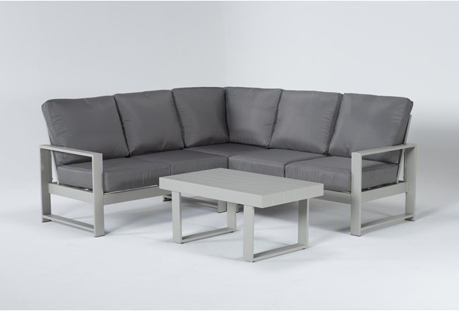 "Zane 82"" Outdoor Sectional And Coffee Table - 360"