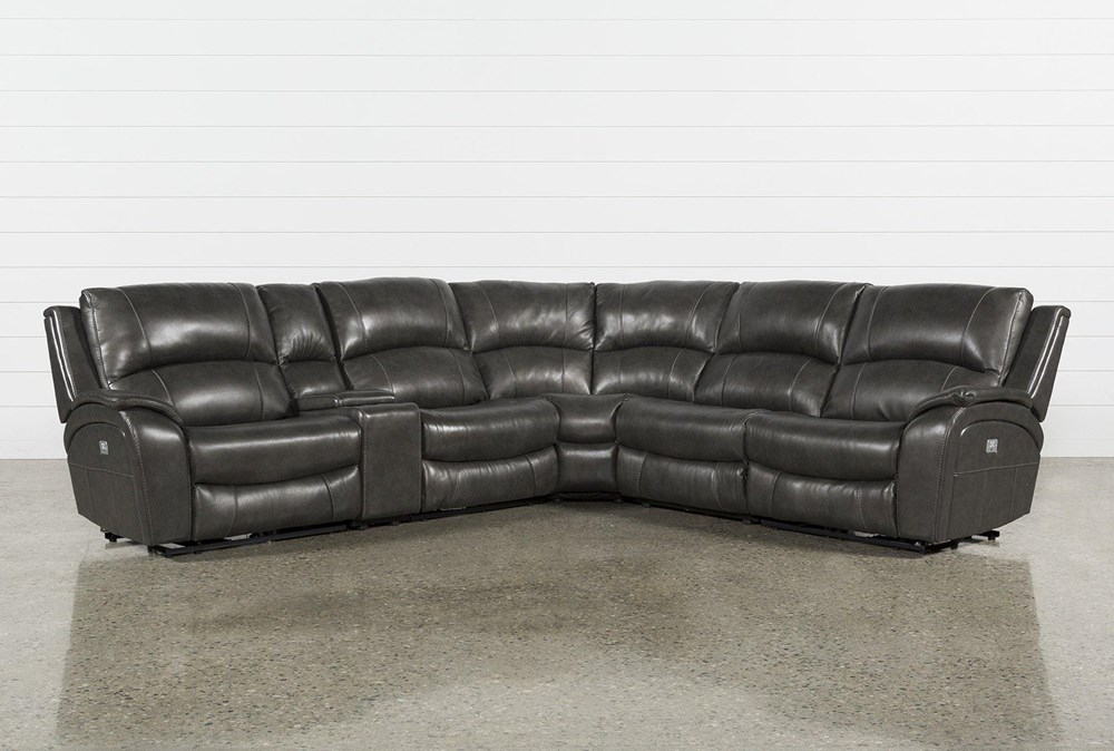 "Travis Dark Grey Leather 6 Piece 135"" Power Reclining Sectional With Power Headrest & USB"