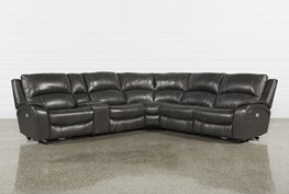 "Travis Dark Grey Leather 6 Piece 135"" Power Reclining Sectional With Power Headrest & USB"