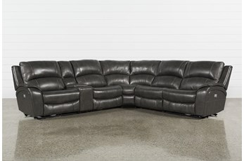 Travis Dark Grey Leather 6 Piece Power Reclining Sectional With Power Headrest & USB