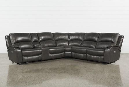 Travis Dark Grey Leather 6 Piece 135