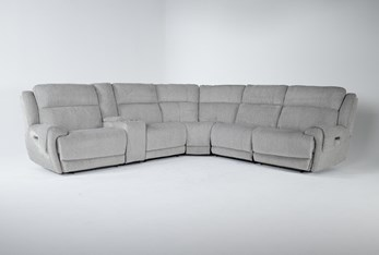 """Terence Pebble 6 Piece 154"""" Sectional With Power Headrest & Usb"""