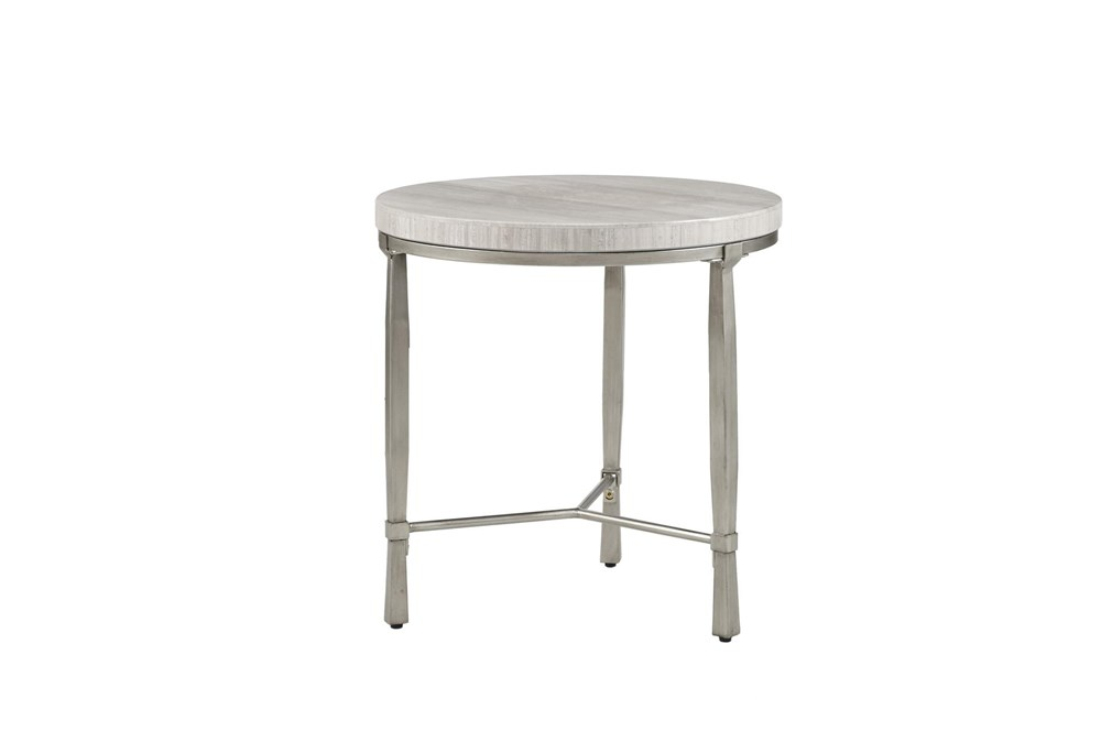 Madison Park Gretna Real Marble Round End Table Metal Base