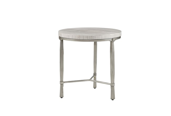 Madison Park Gretna Real Marble Round End Table Metal Base - 360