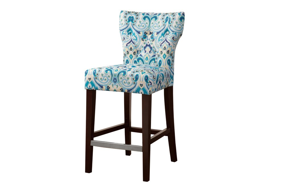 "Madison Park Saffron Blue Tufted Back 25"" Counter Stool"