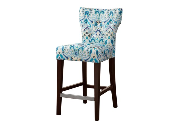"Madison Park Saffron Blue Tufted Back 25"" Counter Stool - 360"