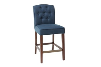 Madison Park Khloe Navy Tufted 26 Inch Counter Stool