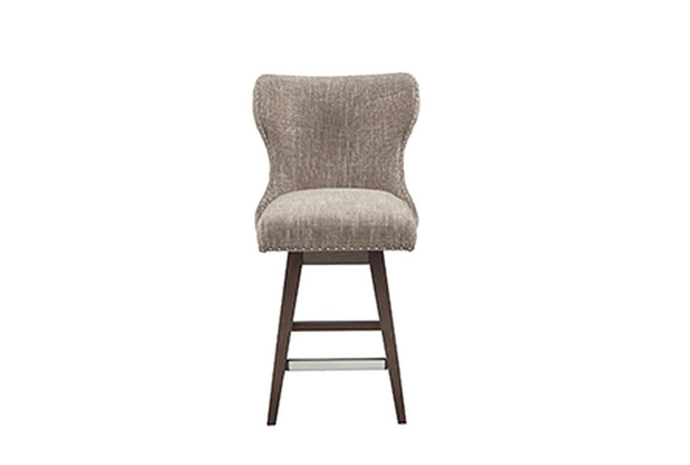 "Madison Park Silloth Camel 27"" High Wingback Button Tufted Swivel Counter Stool"