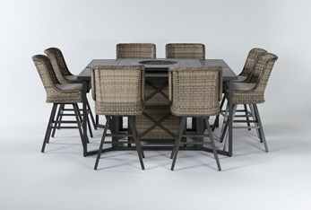 Capri Outdoor Firepit Bar Table With Two Bar Tables And Eight Swivel Barstools
