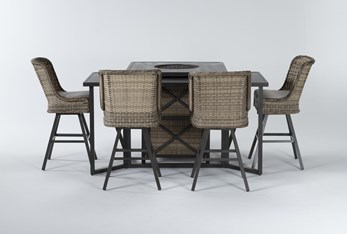 Capri Outdoor Firepit Bar Table With Bar Table And Four Swivel Barstools
