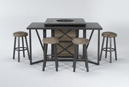 Capri Outdoor Firepit Bar Table With Bar Table And Four Round Barstools