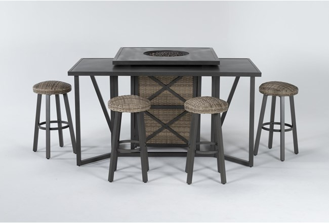Capri Outdoor Firepit Bar Table With Bar Table And Four Round Barstools - 360