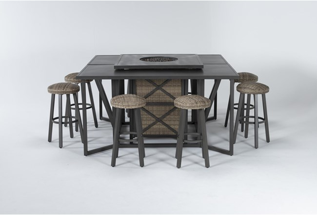 Capri Outdoor Firepit Bar Table With Two Bar Tables And Eight Round Barstools - 360
