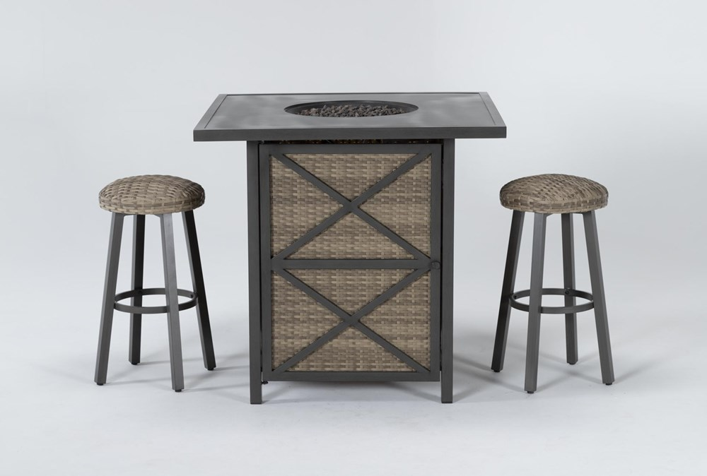 Capri Outdoor Firepit Bar Table With Two Round Barstool