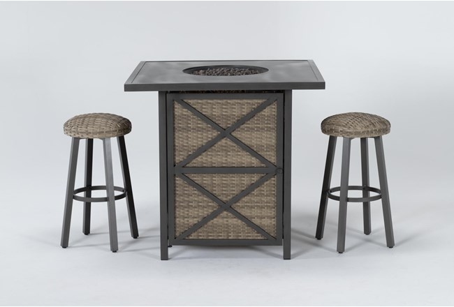 Capri Outdoor Firepit Bar Table With Two Round Barstool - 360