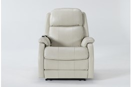 Palma Pearl Leather Power Recliner With Massage & Power Headrest