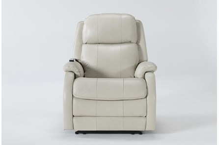 Palma Pearl Leather Power Recliner With Massage & Power Headrest - Main