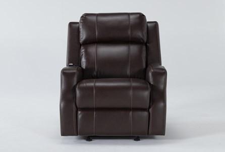 Bilbao Chocolate Power Glider Recliner With Massage And Power Headrest - Main