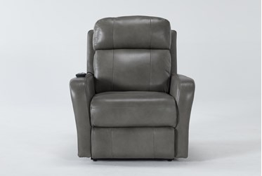 Seville Grey Leather Power Lift Recliner With Massage & Power Headrest