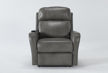 Seville Grey Leather Power Lift Recliner With Massage & Power Headrest - Main