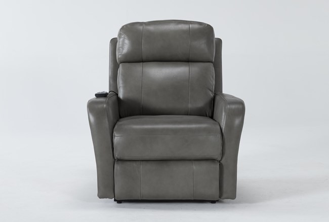 Seville Grey Leather Power Lift Recliner With Massage & Power Headrest - 360