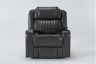 Madrid Leather Power Recliner With Power Headrest, Power Lumbar, Wireless Charging And Table