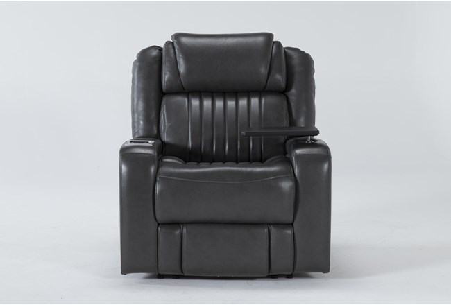 Madrid Leather Power Recliner With Power Headrest, Power Lumbar, Wireless Charging And Table - 360