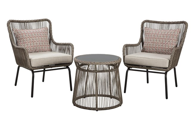 Natural Woven Outdoor 3 Piece Lounge Sent - 360
