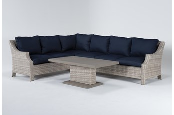 "Chesapeake 112"" Outdoor Sectional And Adjustable Height Table"