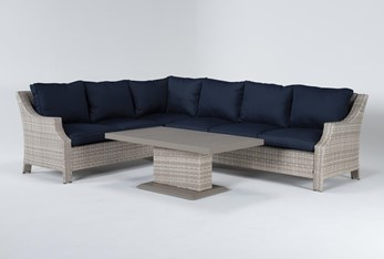 """Chesapeake 112"""" Outdoor Sectional And Adjustable Height Table"""