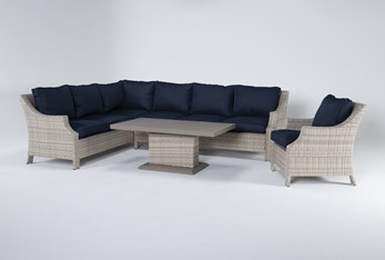 """Chesapeake 112"""" Outdoor Sectional, Lounge Chair And Adjustable Height Table"""