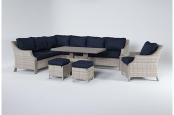 "Chesapeake 112"" Outdoor Sectional, Lounge Chair, Adjustable Height Table, And Two Ottomans"