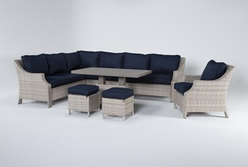 """Chesapeake 112"""" Outdoor Sectional, Lounge Chair, Adjustable Height Table, And Two Ottomans"""