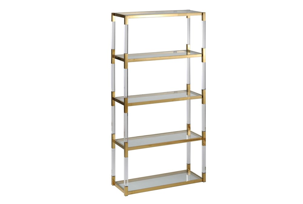 "Shiny Gold 71"" Bookcase"