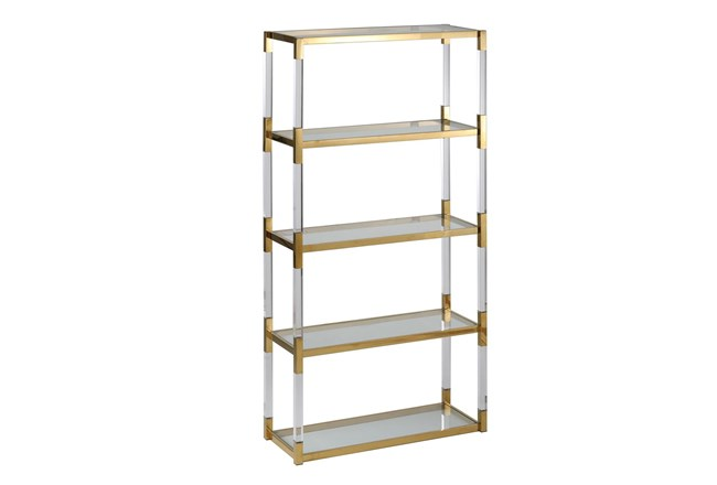 "Shiny Gold 71"" Bookcase - 360"